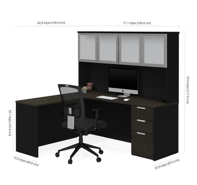"71"" x 62"" L-Shaped Desk with Hutch in Deep Gray and Black"