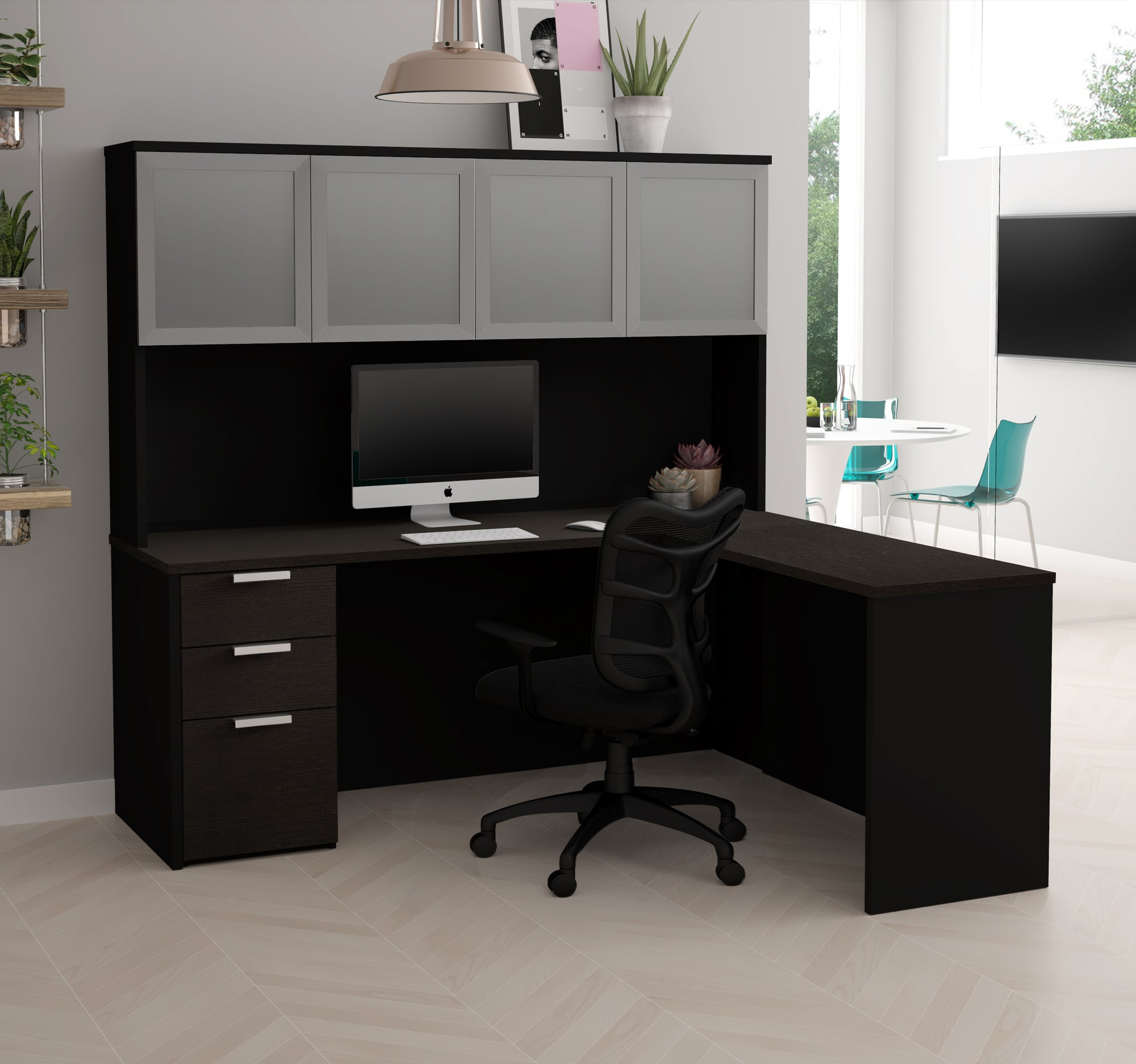 Ordinaire Modern L Shaped Desk U0026 Hutch With Frosted Glass Doors In Deep Gray And Black