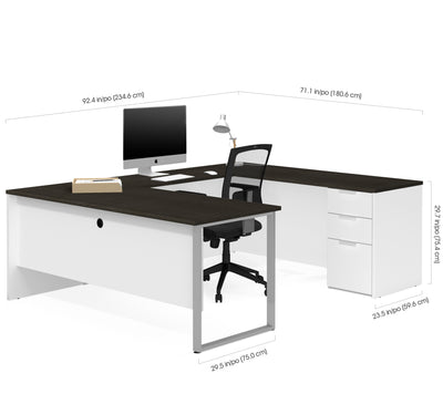 Modern U-shaped Single Pedestal Desk in White & Deep Gray