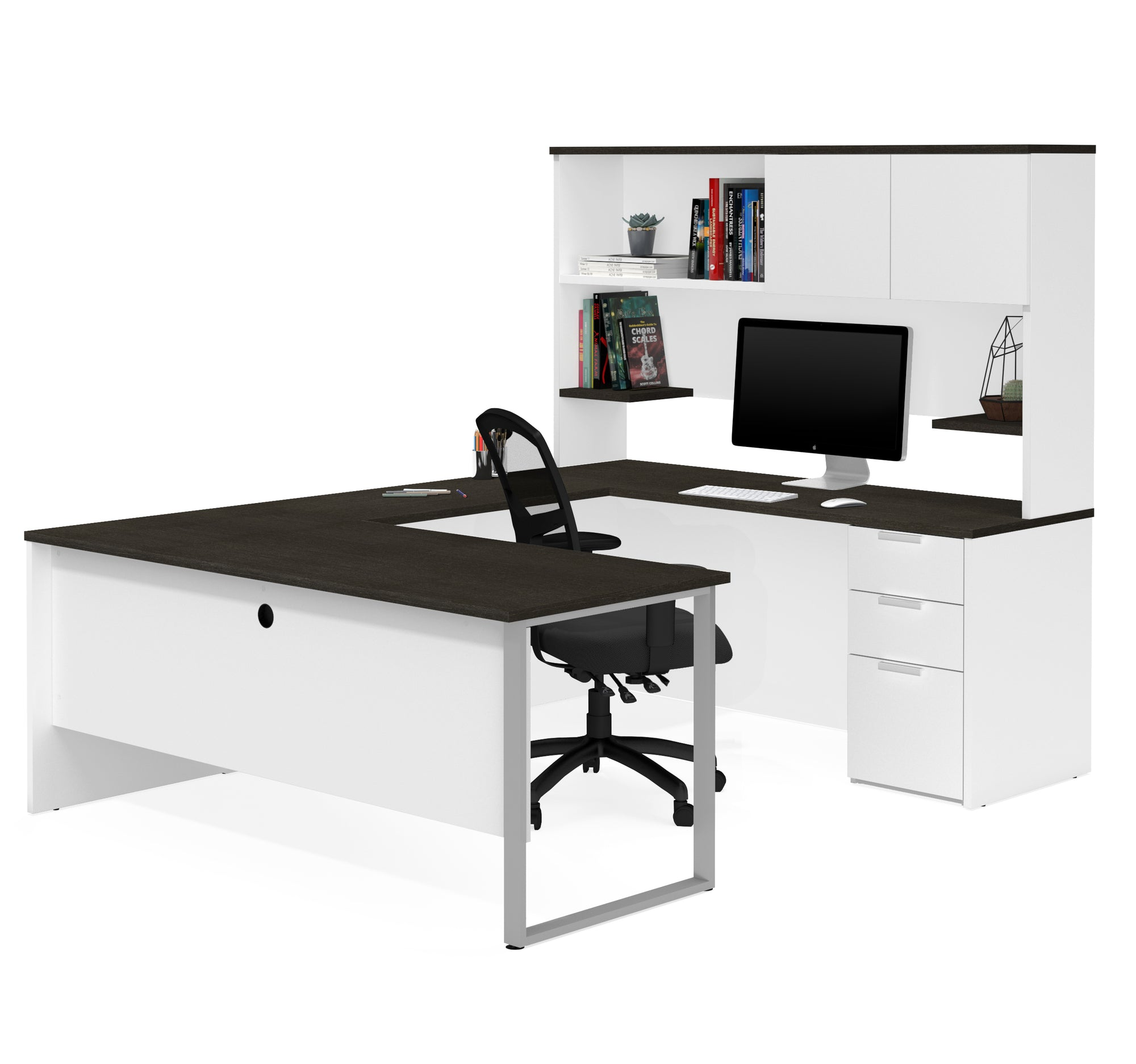 White & Deep Gray Modern U-shaped Office Desk with Hutch