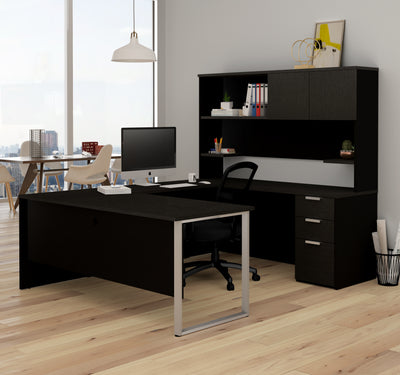 Modern U-shaped Desk with Hutch in Deep Gray & Black Finish