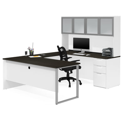Modern U-shaped Desk with Hutch in White & Deep Gray