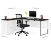Elegant Single Pedestal L-shaped Desk in White & Deep Gray