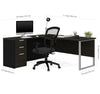 Contemporary L-shaped Single Pedestal Desk in Deep Gray & Black
