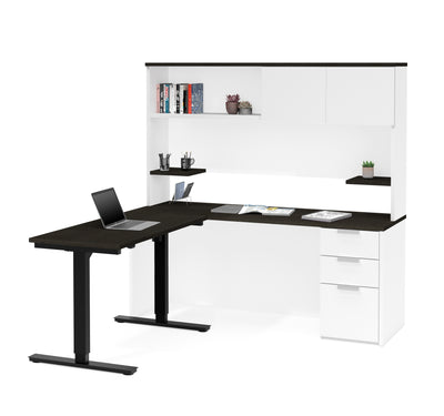 Modern White U0026 Deep Gray L Shaped Desk With Height Adjustable Side