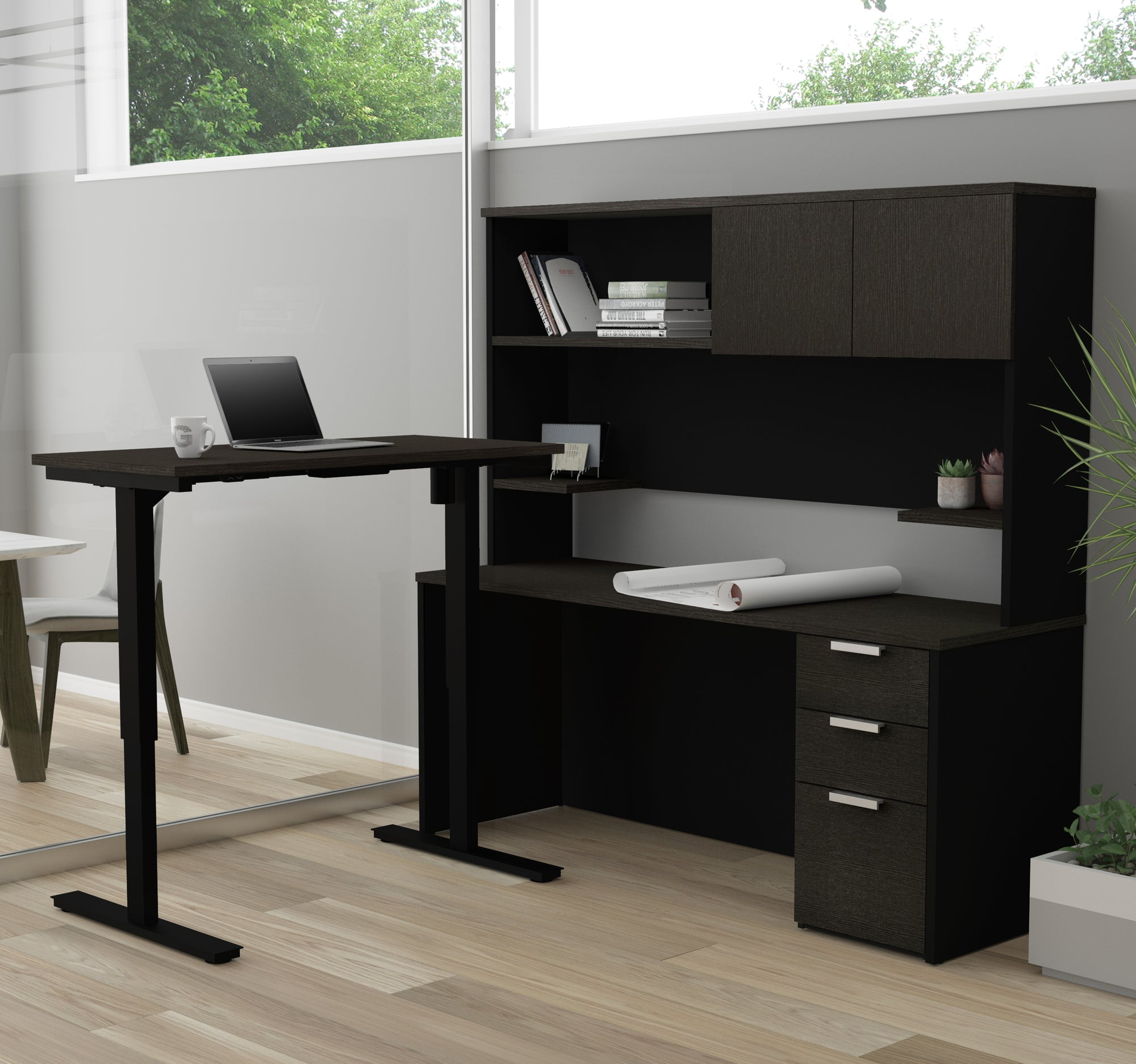 Modern L Shaped Desk With Hutch, With Height Adjustable Side