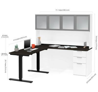 Modern L Shaped Desk U0026 Hutch With Glass Doors, With Height Adjustable Side