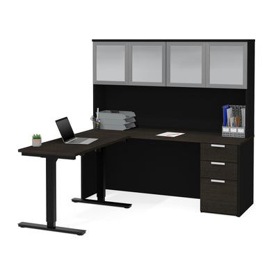 "71"" Deep Gray & Black Single Pedestal Desk & Hutch with Sit-Stand Section"