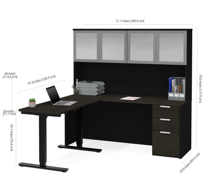 Modern L-shaped Desk & Frosted Glass Hutch with Height Adjustable Side