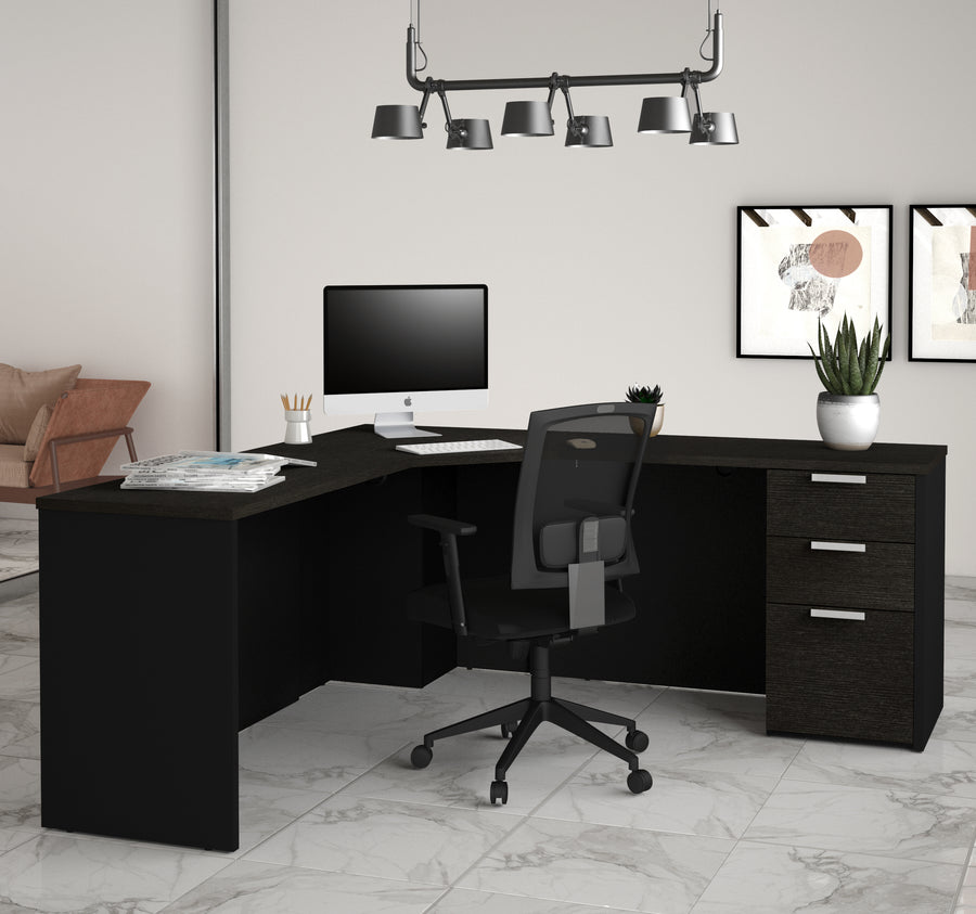 Modern Single Pedestal Corner Desk In Sleek Deep Gray U0026 Black Finish
