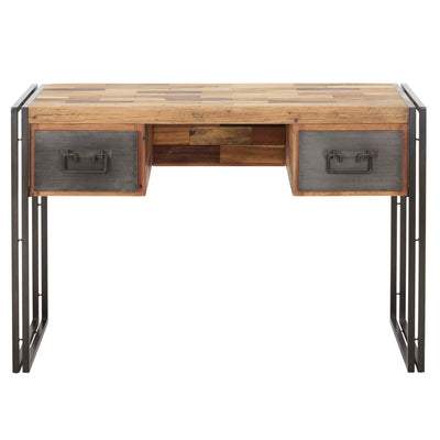 Classic Office Desk of Mixed Recycled Hardwood w/ 2 Drawers