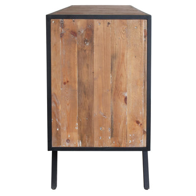 Artistic Storage Credenza of Reclaimed Pine & Framed In Black