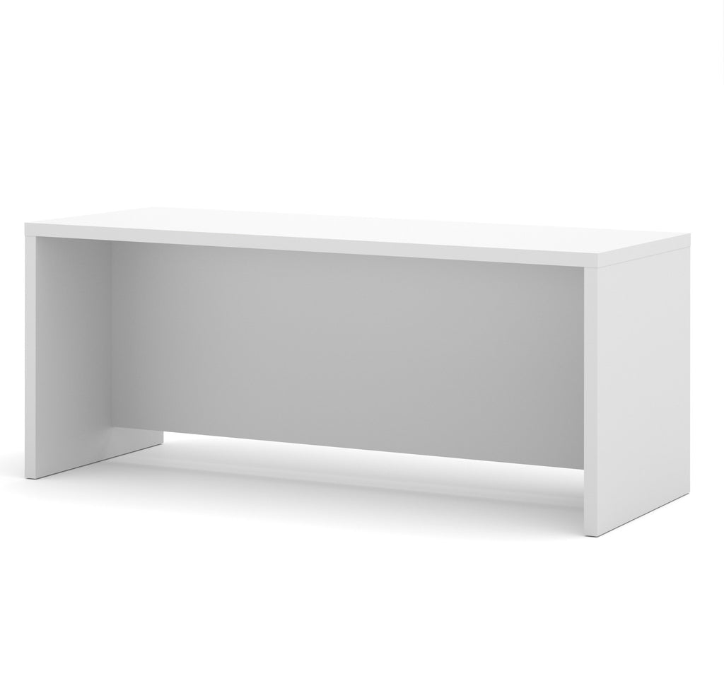 "71"" Modern White Executive Desk with Privacy Panel"