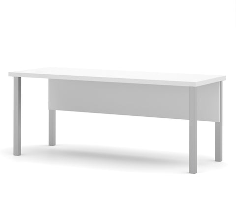"71"" Modern Executive Desk with Metal Legs & Privacy Panel in White"