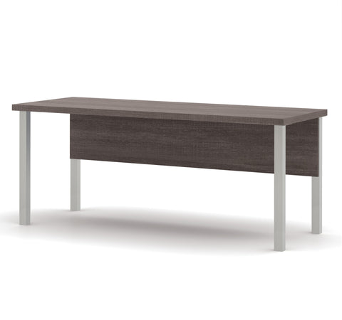 "71"" Modern Executive Desk with Metal Legs & Privacy Panel in Bark Gray"