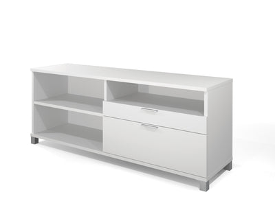Modern Height Adjustable Sit-Stand Desk with Credenza in White