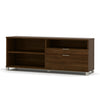 Pro-Linea Modern L-shaped Desk with Hutch in Oak Barrel & White