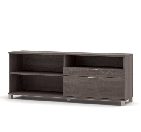"Modern 71"" Credenza with File Drawer in Bark Gray"