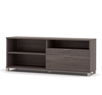 Modern Sit-Stand Desk with Credenza & Hutch in Bark Gray