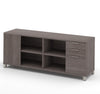 "71"" Bark Gray Storage Credenza with Shelving"
