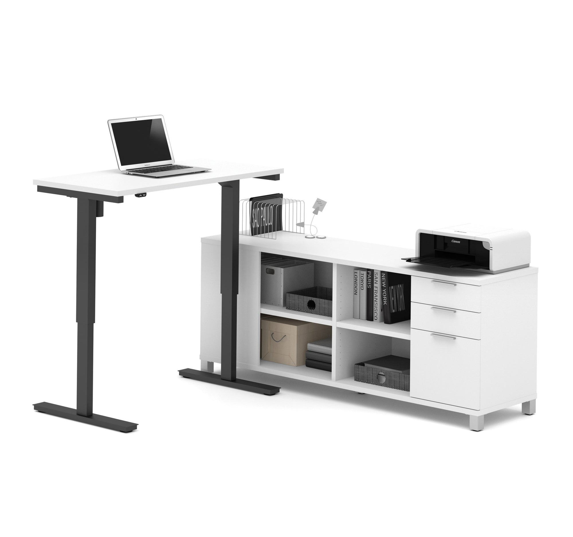 Modern Height Adjustable Sit Stand Desk With Credenza In White