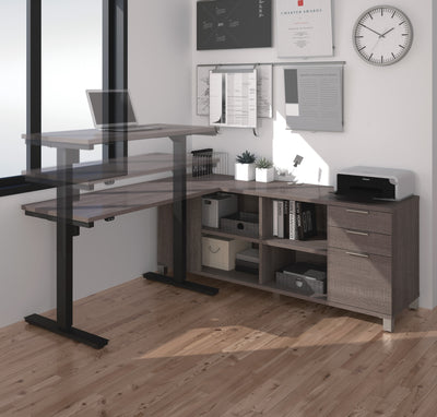 Modern Height Adjustable Sit-Stand Desk with Credenza in Bark Gray