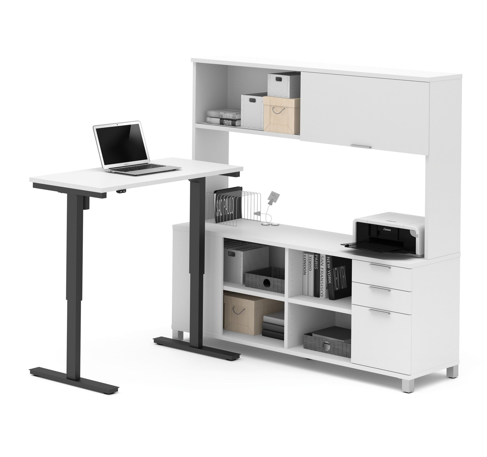 Modern Sit Stand Desk with Credenza Hutch in White ficeDesk