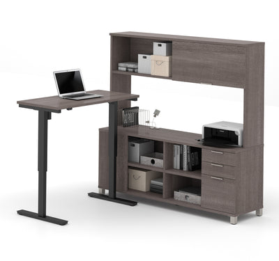 "48"" Bark Gray Sit-Stand Desk with 71"" Credenza & Hutch"