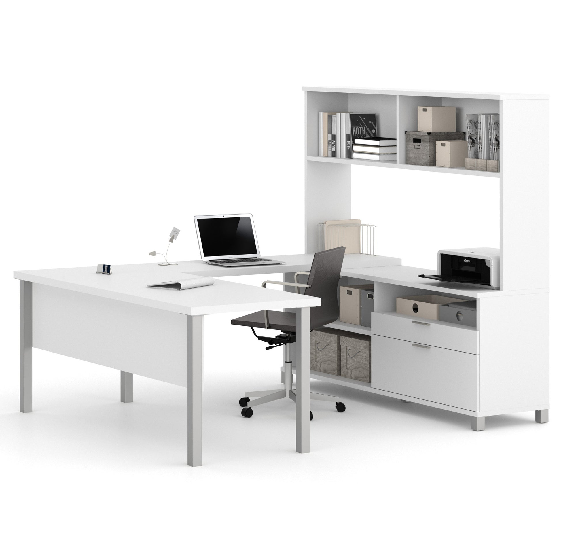 Modern White U Shaped Office Desk With Hutch