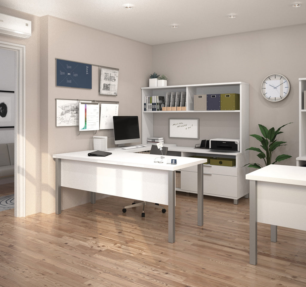 Modern white u shaped office desk with hutch for Modern white office