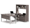 Modern U-shaped Office Desk with Hutch in Bark Gray