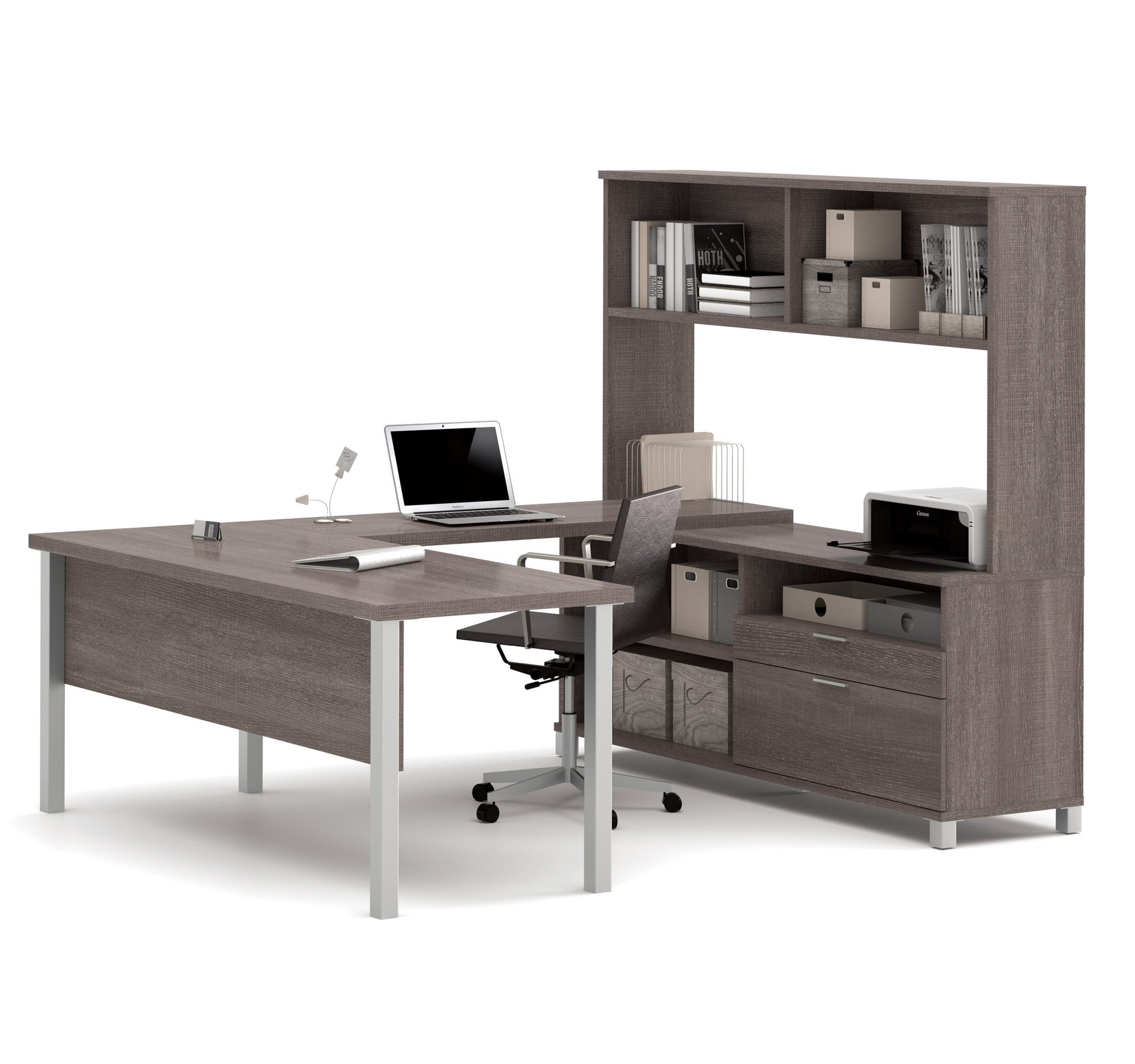 Modern U Shaped Office Desk With Hutch In Bark Gray