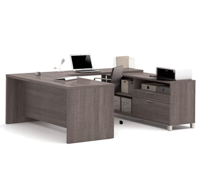Modern Bark Gray U-shaped Desk with Built-in Storage