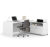 "71"" x 71"" White L-shaped Desk with Integrated Storage"