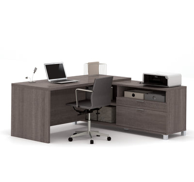 "71"" x 71"" Bark Gray L-shaped Desk with Integrated Storage"