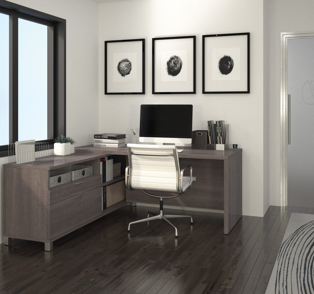 Modern Office Desk: Modern Premium L-shaped Desk In Bark Gray Finish