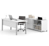 "Modern White 71"" Executive Desk with Lateral File & Bookcase"