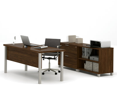 "Modern Oak Barrel 71"" Executive Desk with Lateral File & Bookcase"