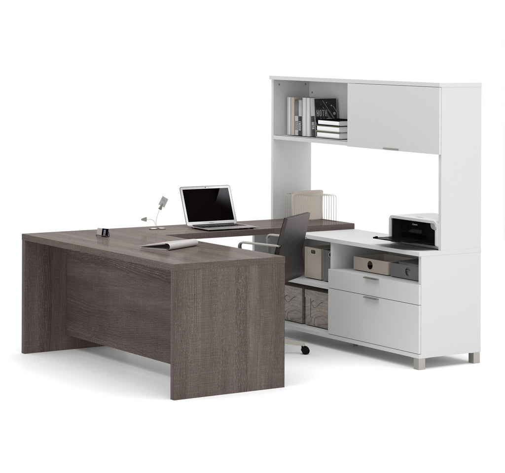 Modern White & Bark Gray U-shaped Office Desk with Hutch ...