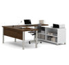 Oak Barrel & White Modern U-shaped Desk