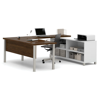 Modern Premium U-shaped Desk in Oak Barrel & White