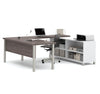 Modern Premium U-shaped Desk in Bark Gray & White
