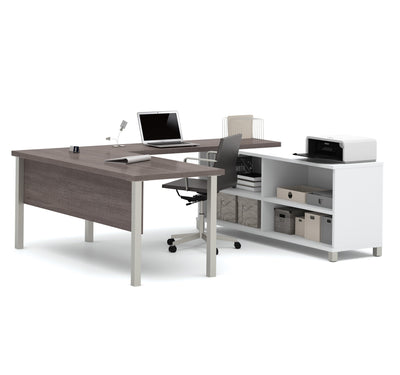 Bark Gray & White Modern U-shaped Desk