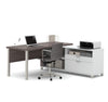 Modern Premium L-shaped Desk in Bark Gray & White Finish
