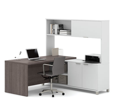 Bark Gray & White Modern L-shaped Desk with Hutch