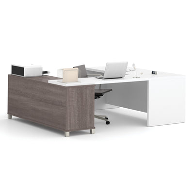 White & Bark Gray Modern U-shaped Desk with Integrated Storage