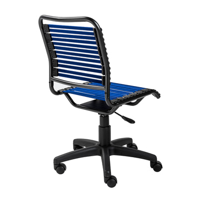 Armless Office Chair with Comfortable Blue Bungee Seat