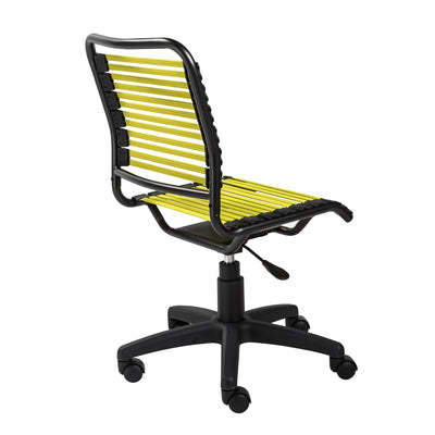 Armless Office Chair with Comfortable Lime Bungee Seat