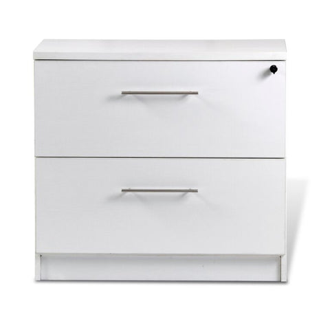 "32"" ASSEMBLED White Locking Lateral File with Chrome Accents"