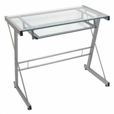 "Silver Framed 31"" Glass Workstation with Keyboard Tray"